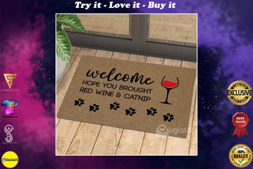 welcome hope you brought red wine and catnip doormat