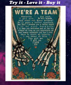 we're a team skeleton retro poster