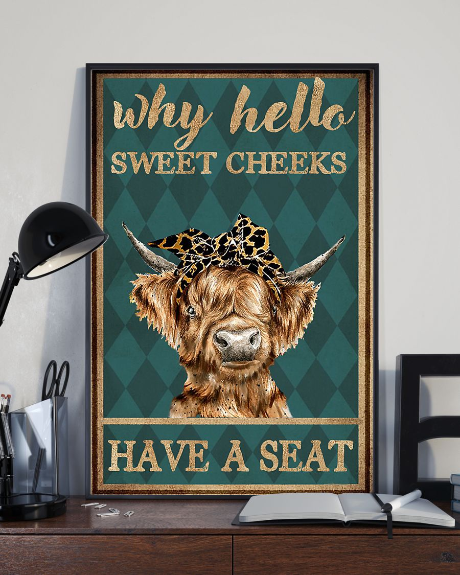 why hello sweet cheeks have a seat cow retro poster 4