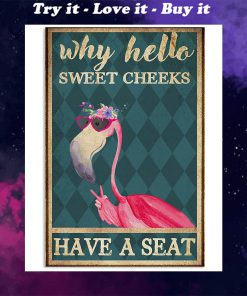 why hello sweet cheeks have a seat flamingo retro poster