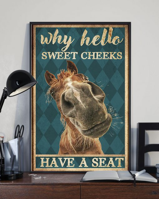 why hello sweet cheeks have a seat horse retro poster 2