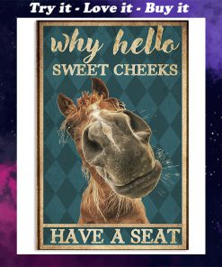 why hello sweet cheeks have a seat horse retro poster