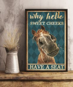 why hello sweet cheeks have a seat horse retro poster 3