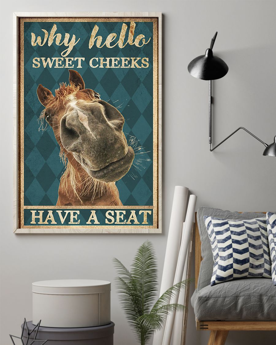 why hello sweet cheeks have a seat horse retro poster 4