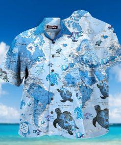 world map sea turtles full printing hawaiian shirt 1 - Copy