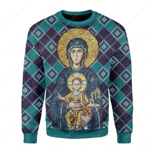 Maria and Jesus in eastern orthodox all over printed ugly christmas sweater 2