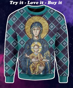 Maria and Jesus in eastern orthodox all over printed ugly christmas sweater
