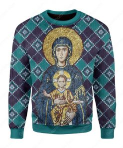 Maria and Jesus in eastern orthodox all over printed ugly christmas sweater 3