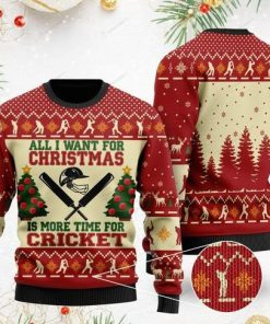 all i want for christmas is more time for cricket christmas ugly sweater 2