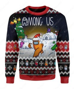 among us all over printed ugly christmas sweater 2