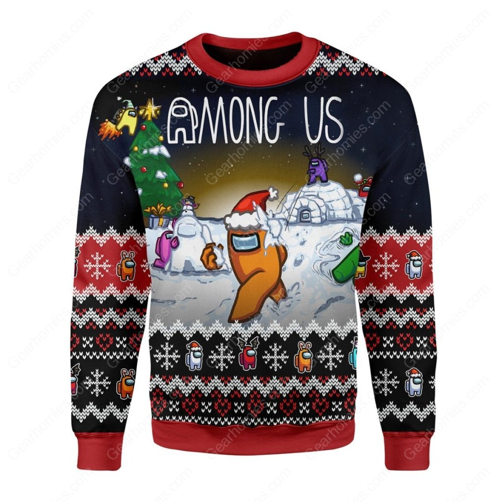 among us all over printed ugly christmas sweater 3