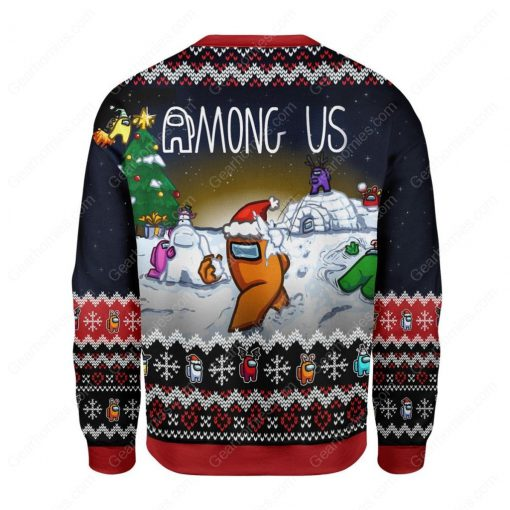 among us all over printed ugly christmas sweater 4