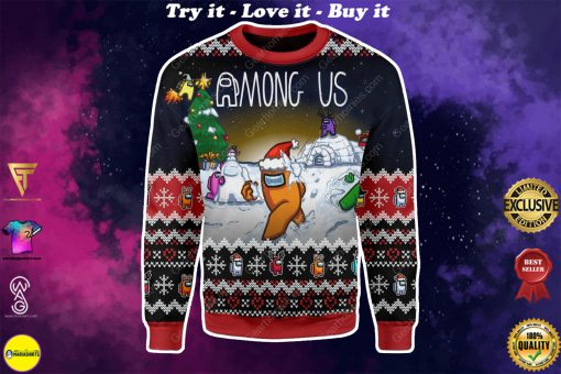 among us all over printed ugly christmas sweater