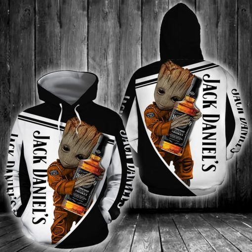 baby groot love jack daniels old no 7 tennessee whiskey full printing hoodie