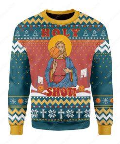 basketball Jesus holy shot all over printed ugly christmas sweater 2