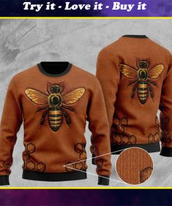 bee pattern full printing christmas ugly sweater