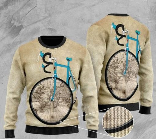 bicycle and world map pattern full printing christmas ugly sweater 2 - Copy (2)
