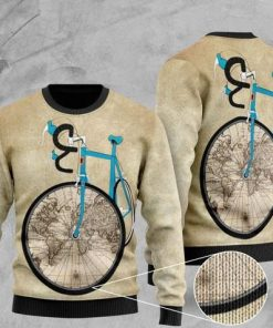 bicycle and world map pattern full printing christmas ugly sweater 2 - Copy