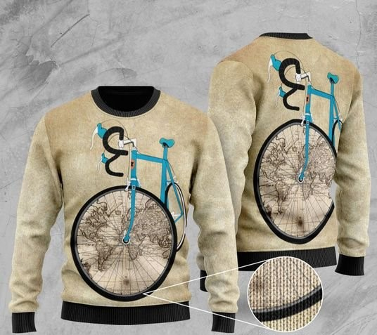 bicycle and world map pattern full printing christmas ugly sweater 2 - Copy (3)