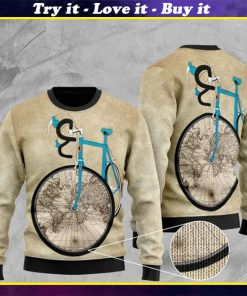bicycle and world map pattern full printing christmas ugly sweater