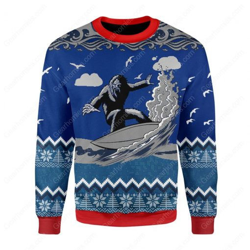 bigfoot surfing all over printed ugly christmas sweater 2