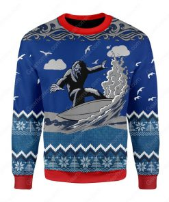 bigfoot surfing all over printed ugly christmas sweater 3