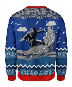 bigfoot surfing all over printed ugly christmas sweater 4