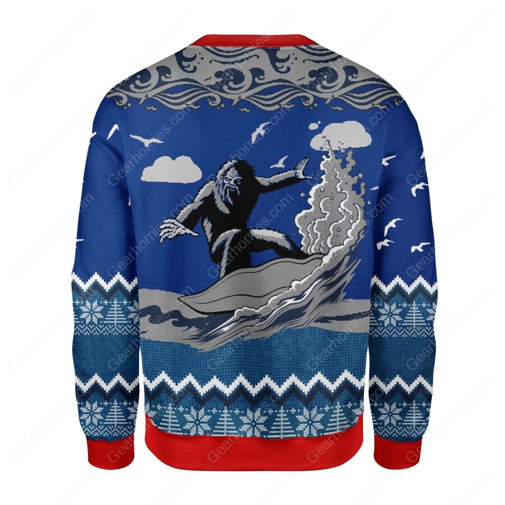 bigfoot surfing all over printed ugly christmas sweater 5
