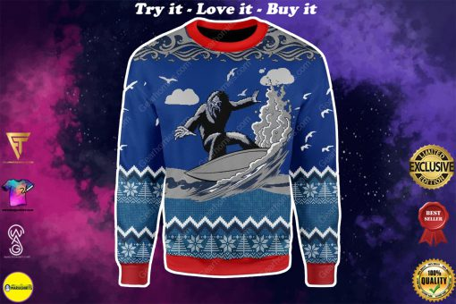 bigfoot surfing all over printed ugly christmas sweater