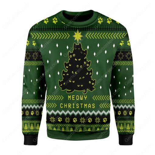 black cat christmas tree all over printed ugly christmas sweater 2
