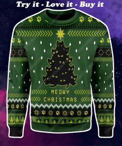 black cat christmas tree all over printed ugly christmas sweater