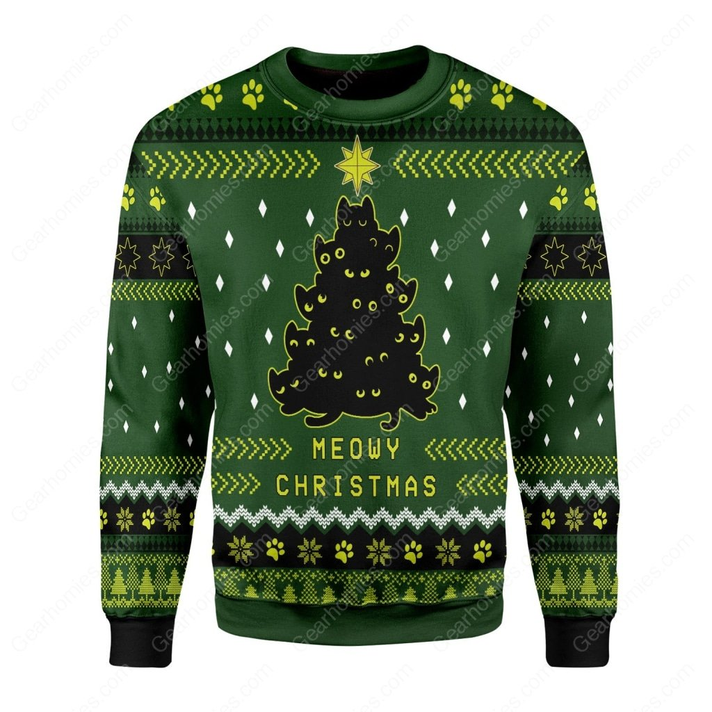 black cat christmas tree all over printed ugly christmas sweater 3