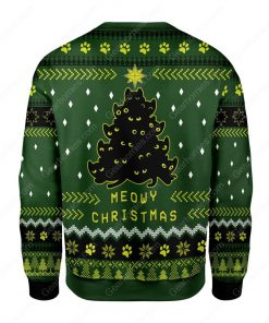 black cat christmas tree all over printed ugly christmas sweater 4