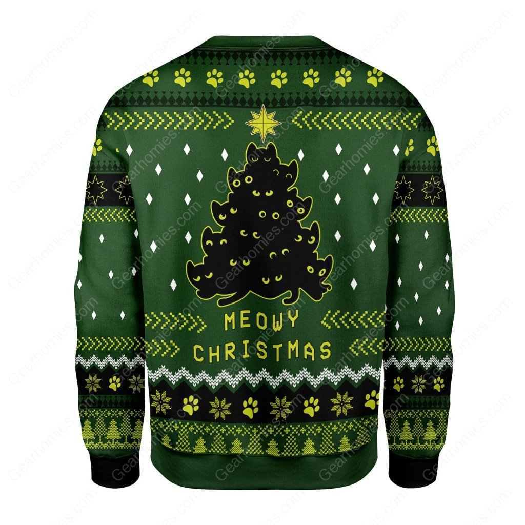 black cat christmas tree all over printed ugly christmas sweater 5
