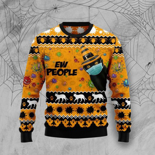 black cat face mask ew people full printing christmas ugly sweater 3