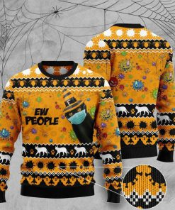 black cat face mask ew people full printing christmas ugly sweater 4 - Copy