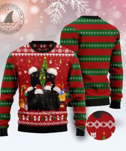 black cat family pattern full printing christmas ugly sweater 2