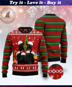 black cat family pattern full printing christmas ugly sweater