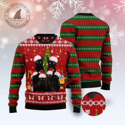 black cat family pattern full printing christmas ugly sweater 3