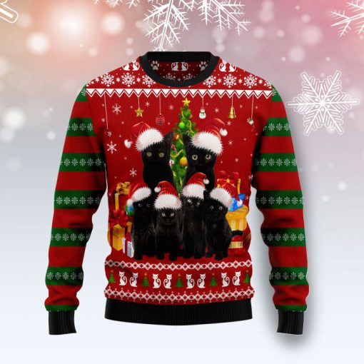 black cat family pattern full printing christmas ugly sweater 5