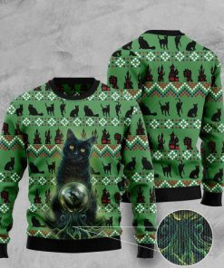 black cat halloween pattern full printing christmas ugly sweater 2