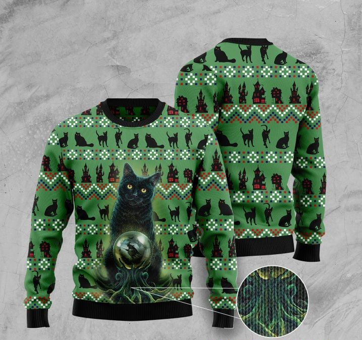 black cat halloween pattern full printing christmas ugly sweater 2 - Copy