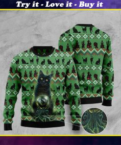 black cat halloween pattern full printing christmas ugly sweater