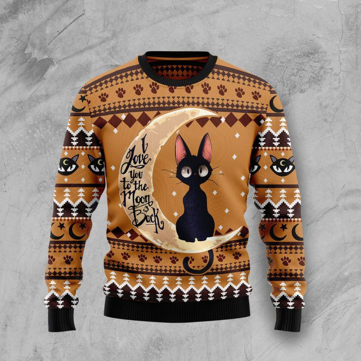 black cat i love you to the moon and back full printing christmas ugly sweater 3