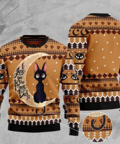 black cat i love you to the moon and back full printing christmas ugly sweater 4