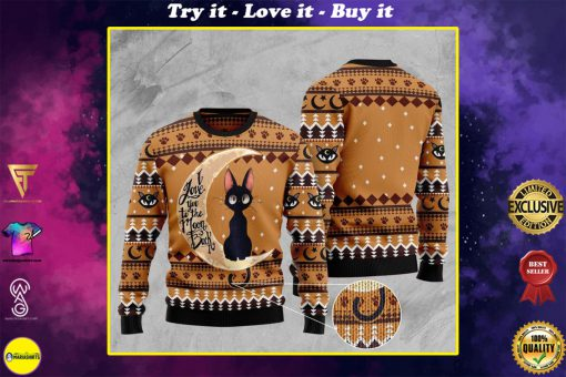 black cat i love you to the moon and back full printing christmas ugly sweater