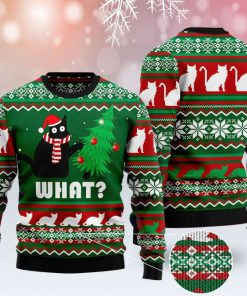 black cat what pattern full printing christmas ugly sweater 2