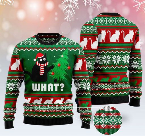 black cat what pattern full printing christmas ugly sweater 2 - Copy