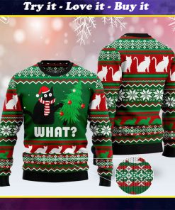 black cat what pattern full printing christmas ugly sweater