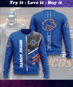boise state broncos bleed blue full printing ugly sweater